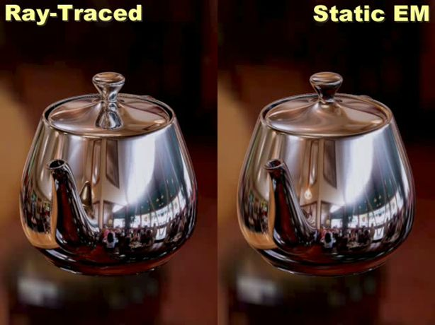 Here we compare the original ray traced sequence on the left with a sequence generated using a static environment map on the right.