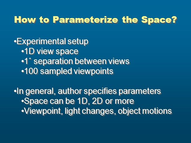 How to Parameterize the Space