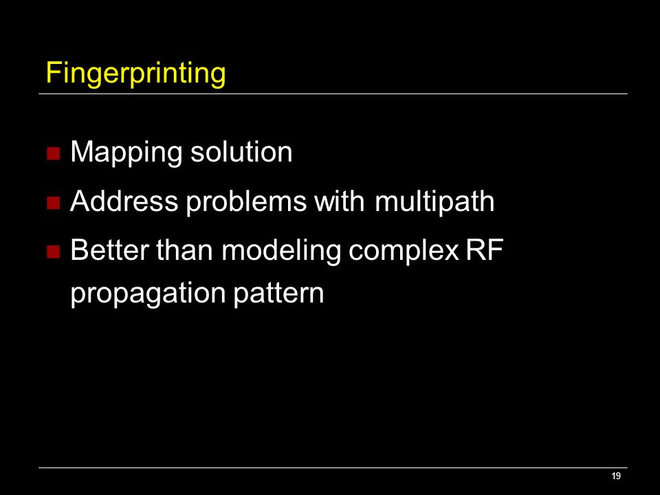 Fingerprinting Mapping solution. Address problems with multipath.