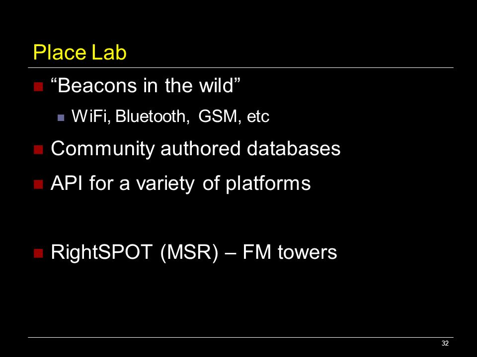 Place Lab Beacons in the wild Community authored databases