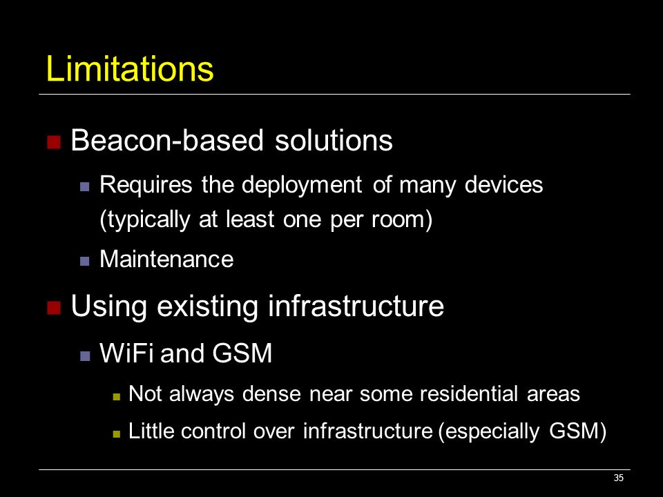 Limitations Beacon-based solutions Using existing infrastructure