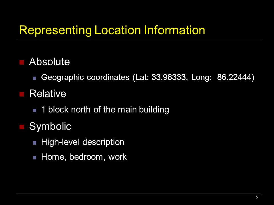 Representing Location Information