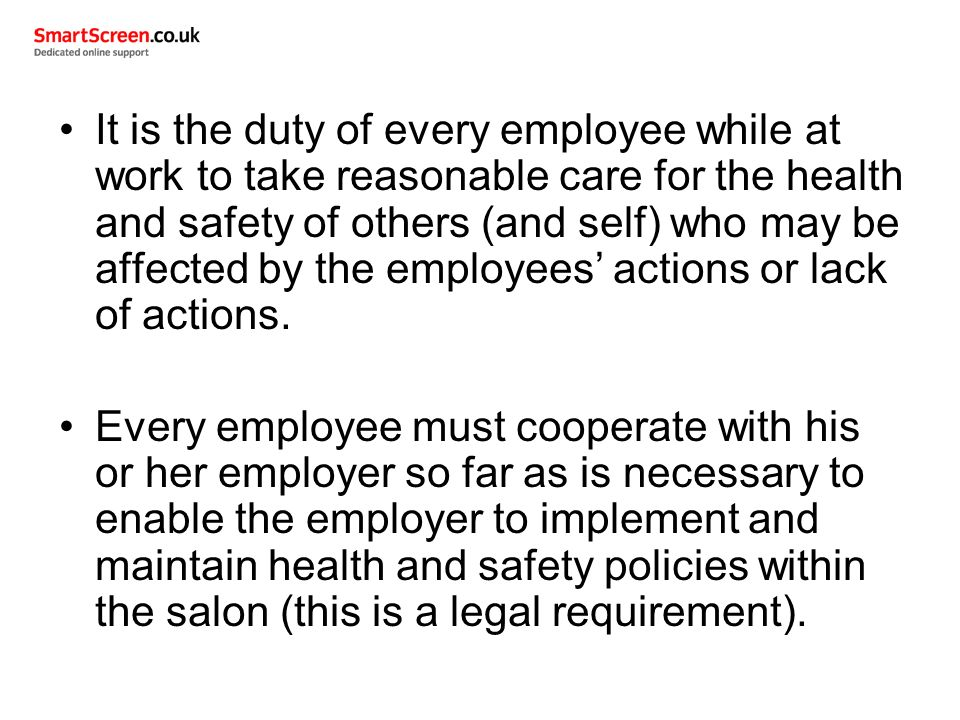 "unit 302 maintaining health and safety Monitor and maintain health and safety practice in the salon there is a saying ""an accident waiting to happen"" this means that there is a hazard that is likely to cause an injury or accident if it is not made safe."