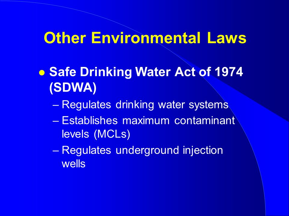 safe drinking water act The safe drinking water act (sdwa) is the federal law that protects public drinking water supplies throughout the nation under the sdwa, epa sets standards for drinking water quality and with its partners implements various technical and financial programs to ensure drinking water safety.