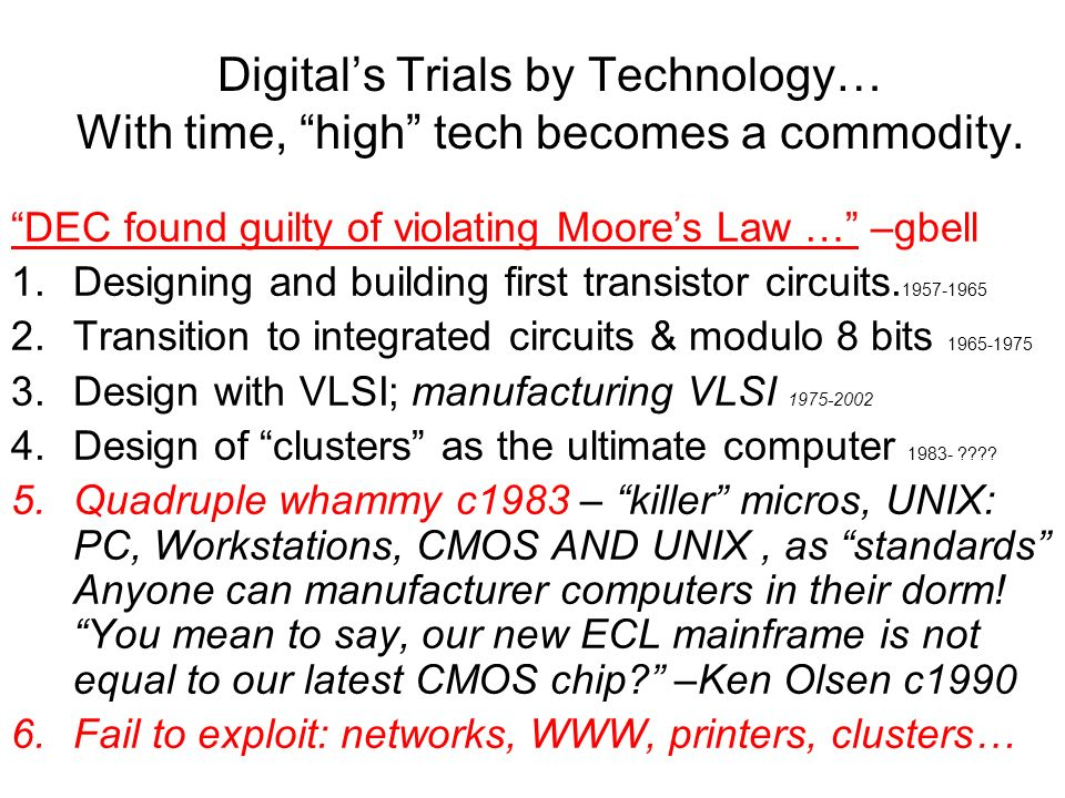 Digital's Trials by Technology… With time, high tech becomes a commodity.