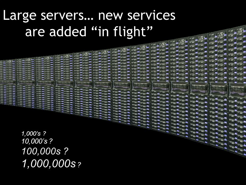Large servers… new services are added in flight