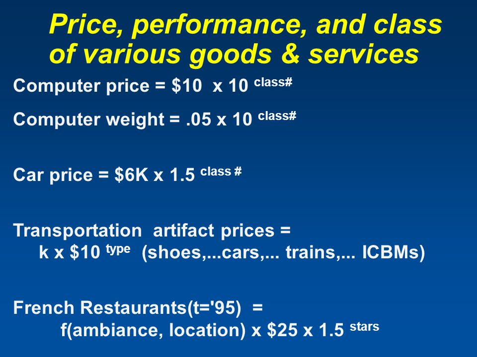 Price, performance, and class of various goods & services