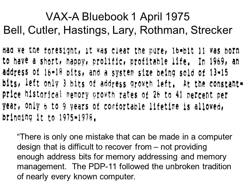 VAX-A Bluebook 1 April 1975 Bell, Cutler, Hastings, Lary, Rothman, Strecker