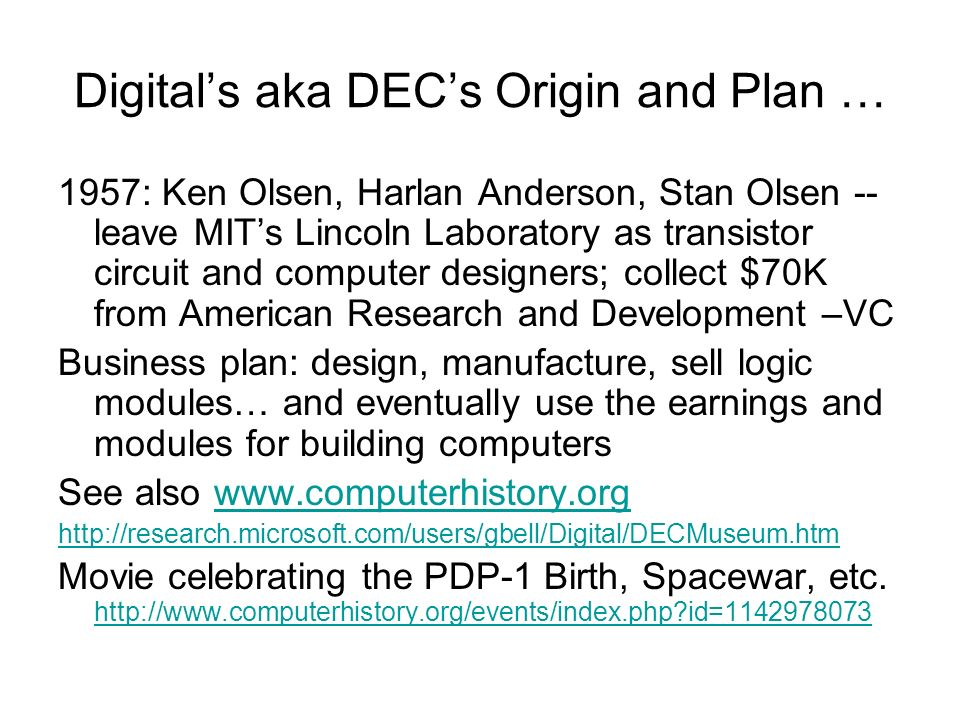 Digital's aka DEC's Origin and Plan …