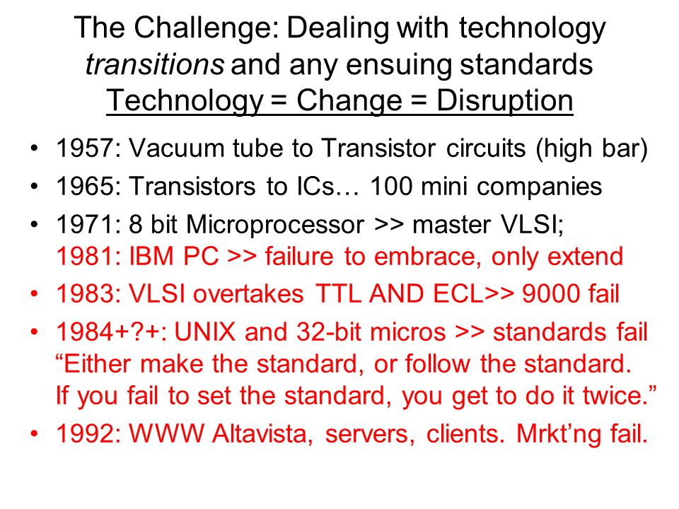 The Challenge: Dealing with technology transitions and any ensuing standards Technology = Change = Disruption