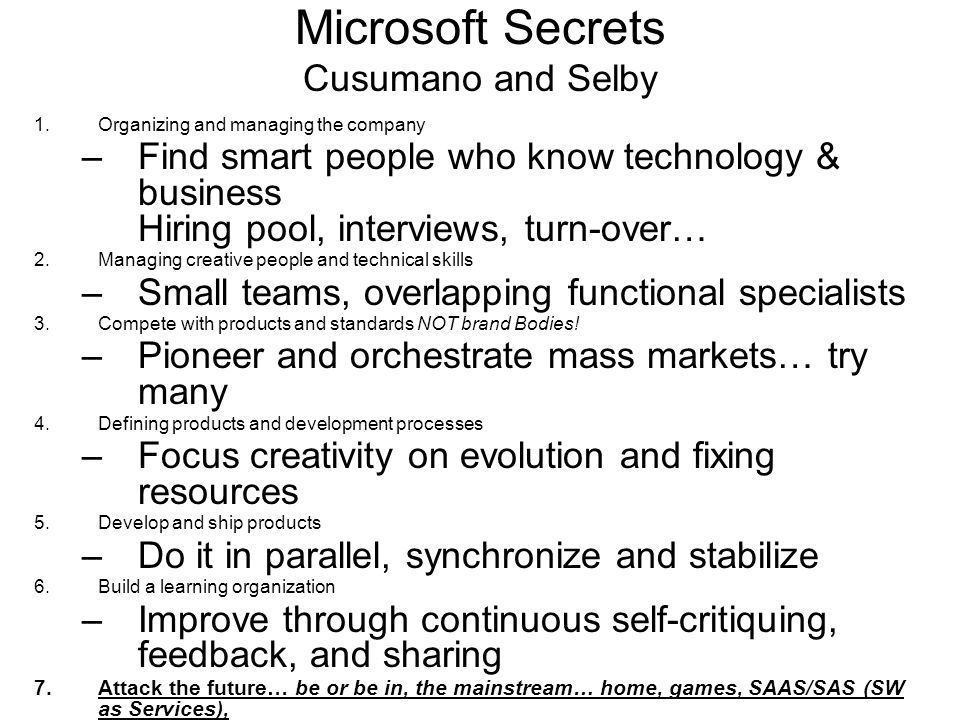 Microsoft Secrets Cusumano and Selby