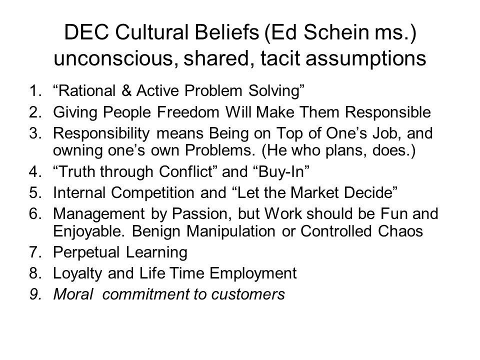 DEC Cultural Beliefs (Ed Schein ms