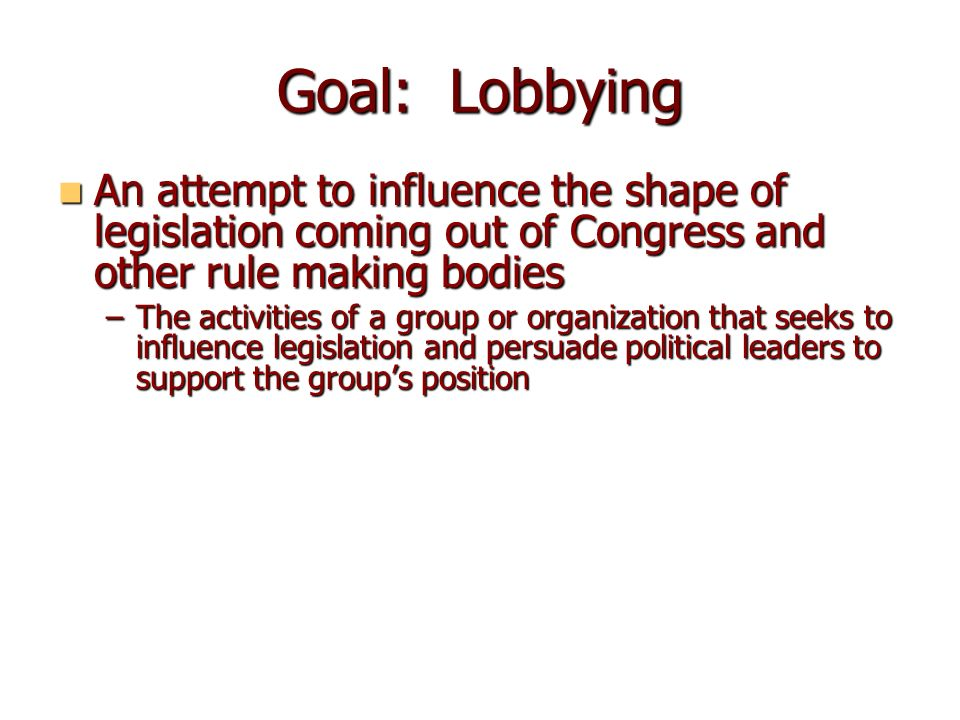 organized political lobbying more harm than Interest group, also called special interest group or pressure group, any association of individuals or organizations, usually formally organized, that, on the basis of one or more shared concerns, attempts to influence public policy in its favour all interest groups share a desire to affect government policy to benefit themselves or their causes.
