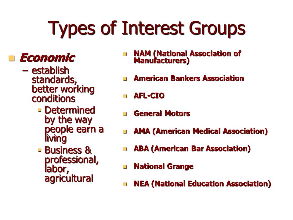 types of us interest groups Corporations and trade associations comprise the vast majority of lobbying expenditures by interest groups — more than 84% at the federal level — compared with issue-ideology membership groups, which makes up only 2% of these expenditures.