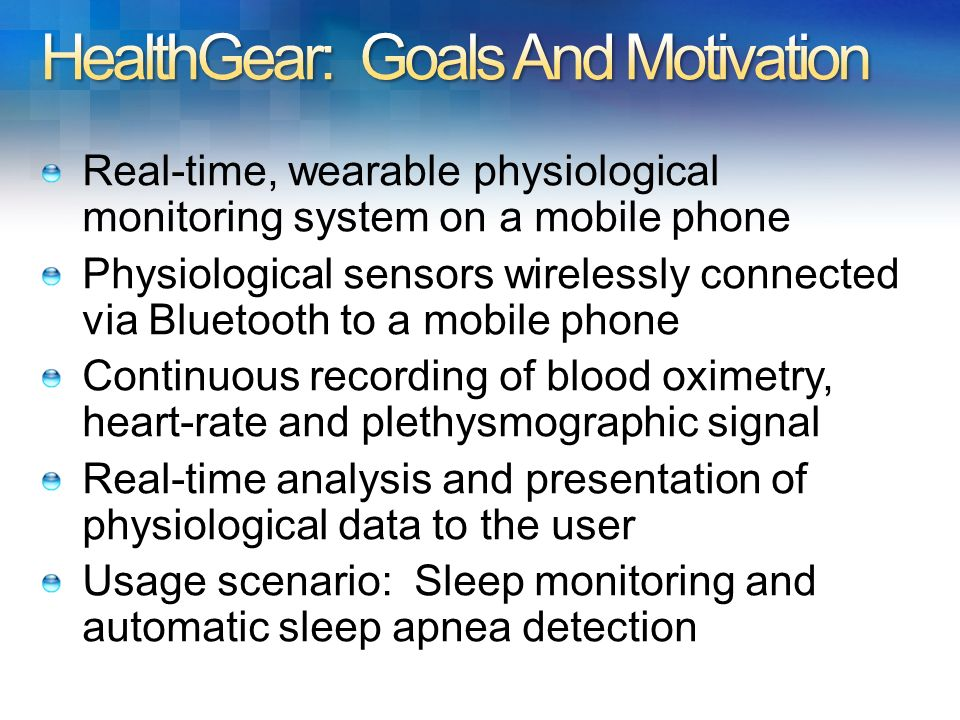 HealthGear: Goals And Motivation