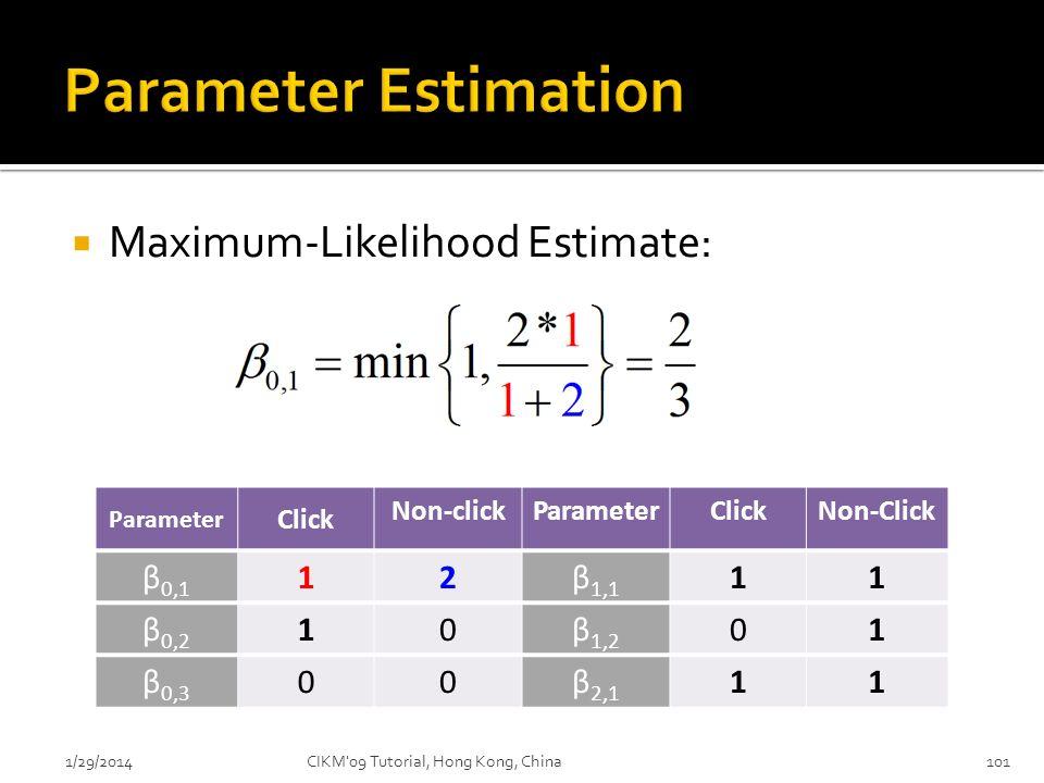 Parameter Estimation Maximum-Likelihood Estimate: β0,1 1 2 β1,1 β0,2
