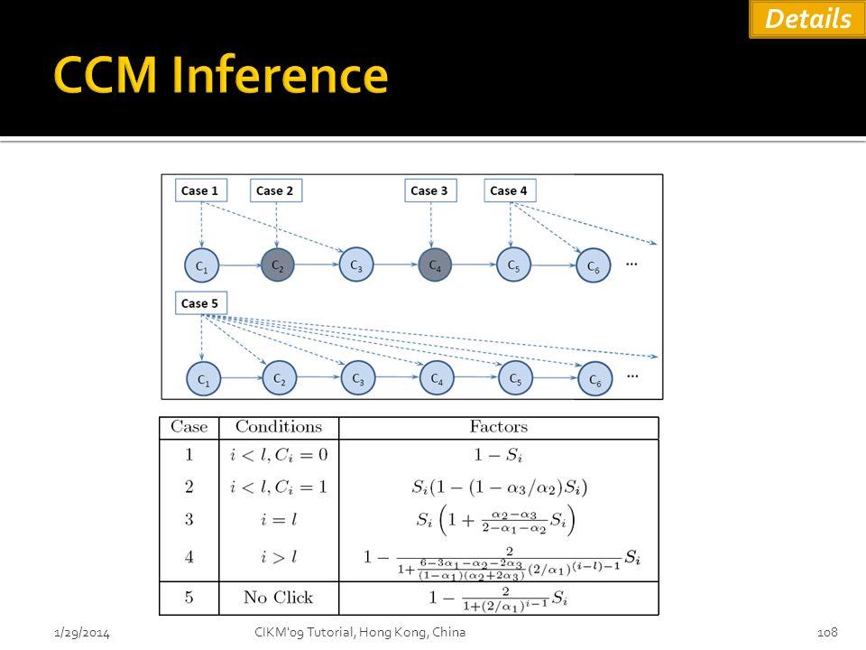 Details CCM Inference 3/27/2017 CIKM 09 Tutorial, Hong Kong, China
