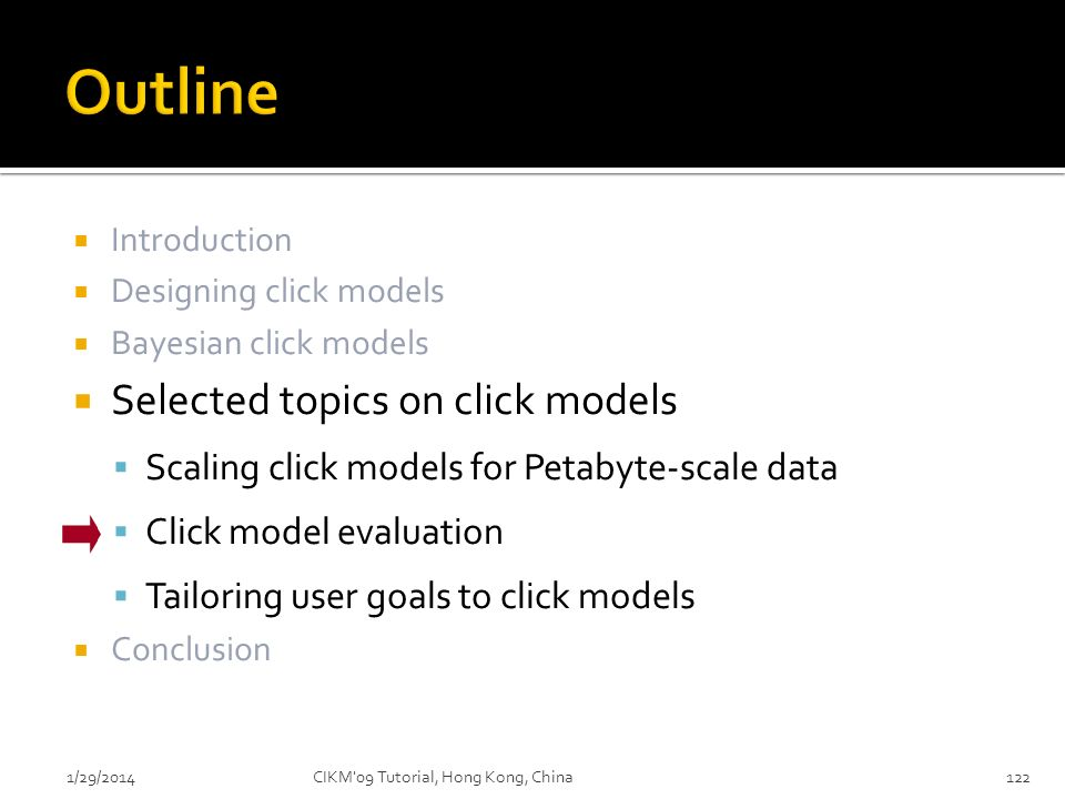Outline Selected topics on click models