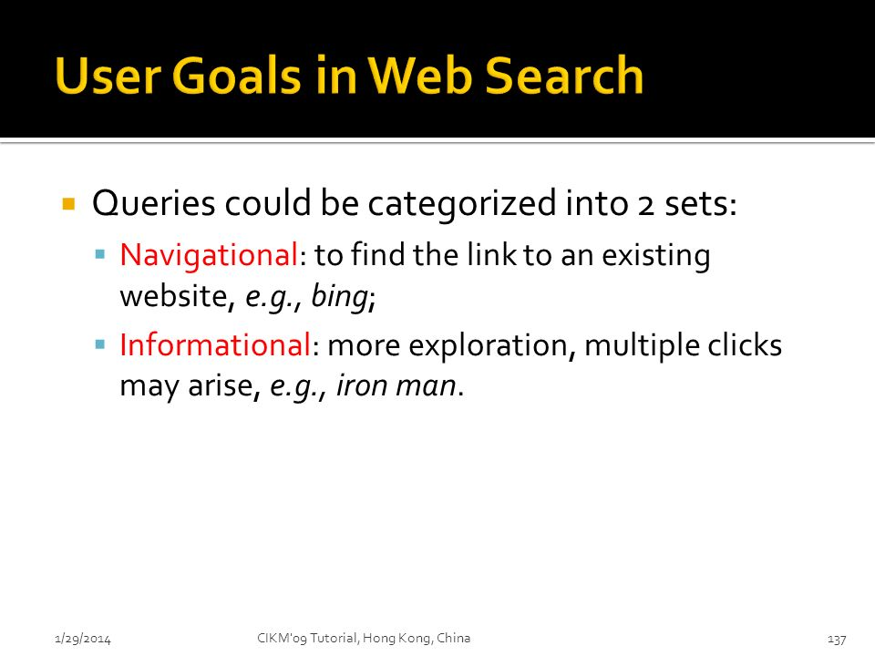 User Goals in Web Search