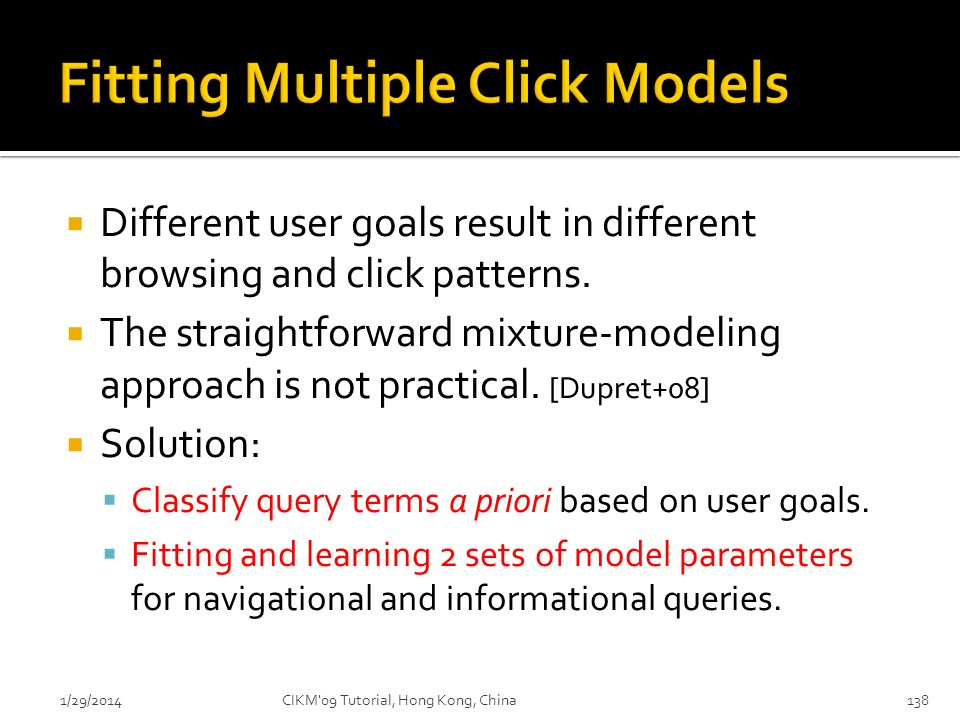 Fitting Multiple Click Models
