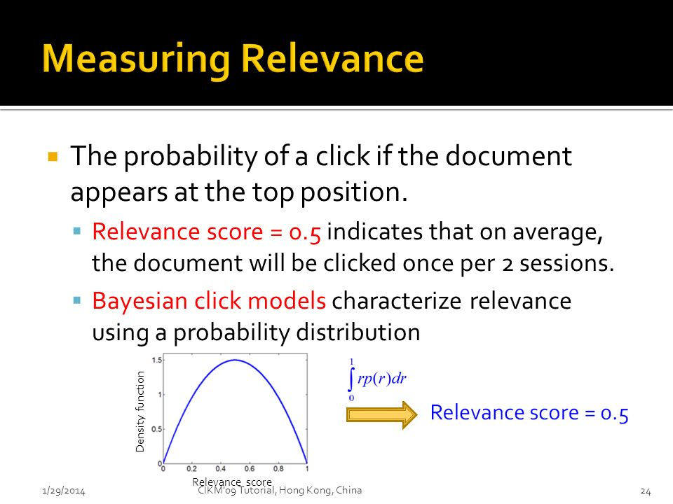 Measuring Relevance The probability of a click if the document appears at the top position.
