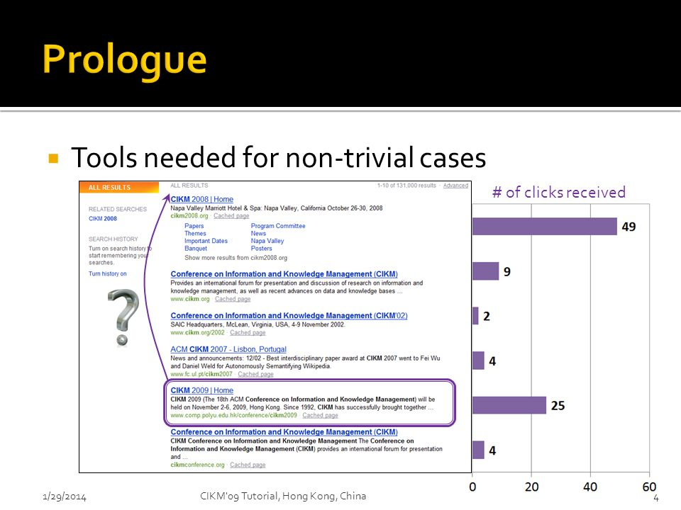 Prologue Tools needed for non-trivial cases # of clicks received