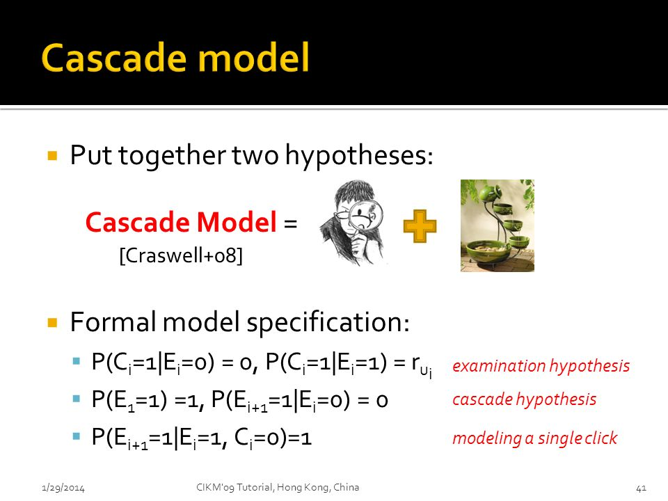 Cascade model Put together two hypotheses: