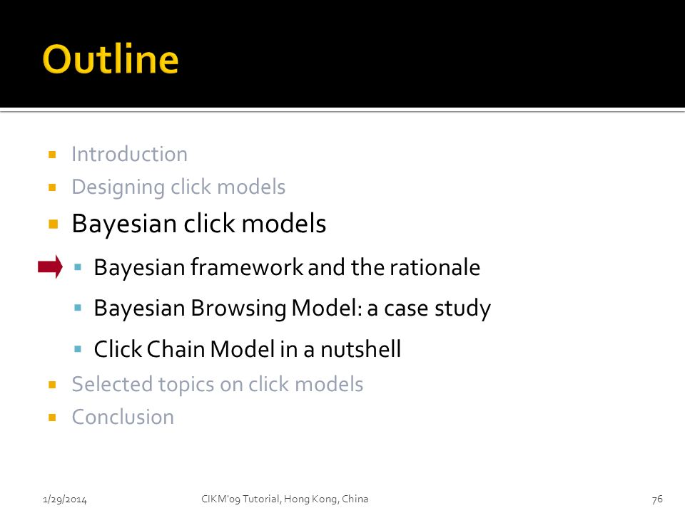 Outline Bayesian click models Bayesian framework and the rationale