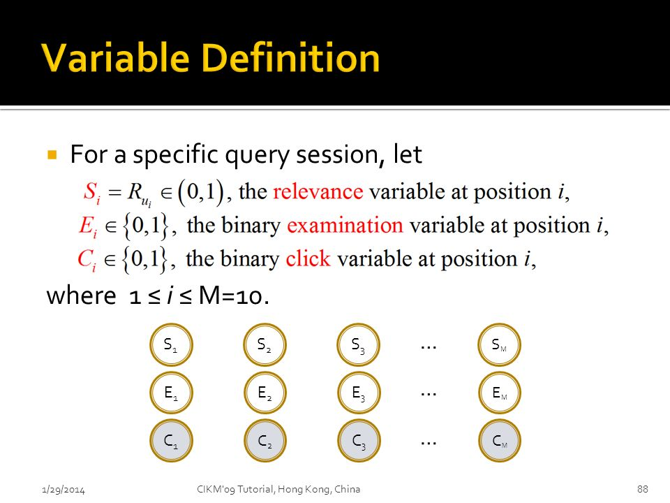 Variable Definition For a specific query session, let