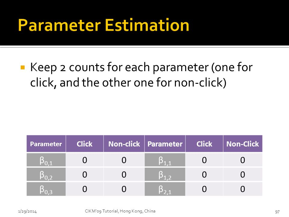 Parameter Estimation Keep 2 counts for each parameter (one for click, and the other one for non-click)