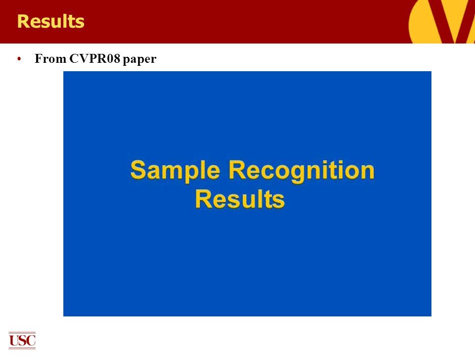 Results From CVPR08 paper
