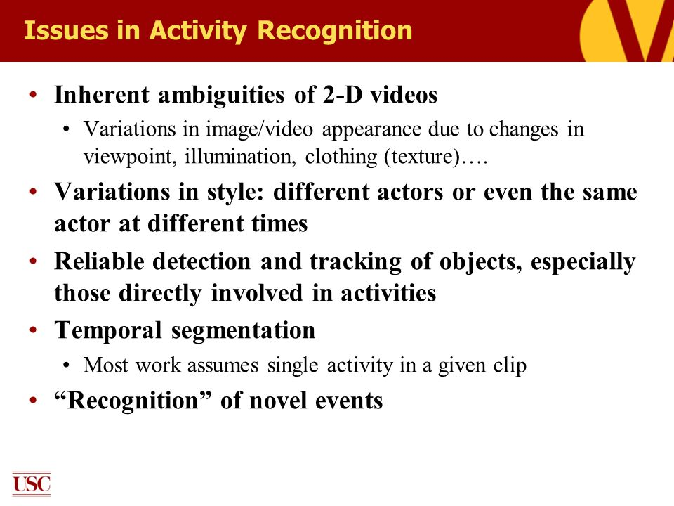 Issues in Activity Recognition