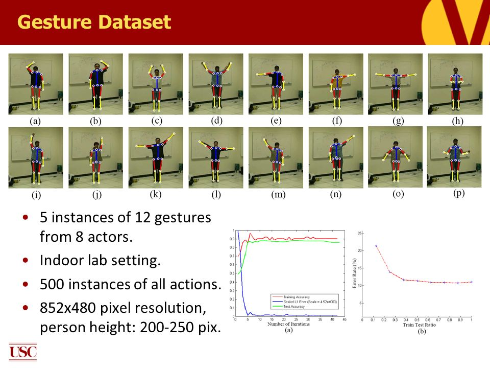 Gesture Dataset 5 instances of 12 gestures from 8 actors.