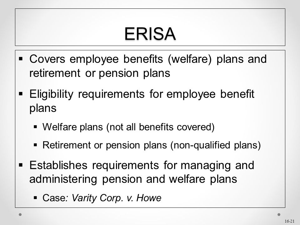 requirements in retirement account subsystem Erisa is a federal law that sets minimum standards for retirement plans in private   erisa does not require any employer to establish a retirement plan.