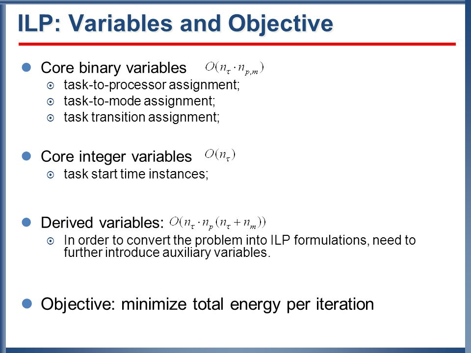 ILP: Variables and Objective