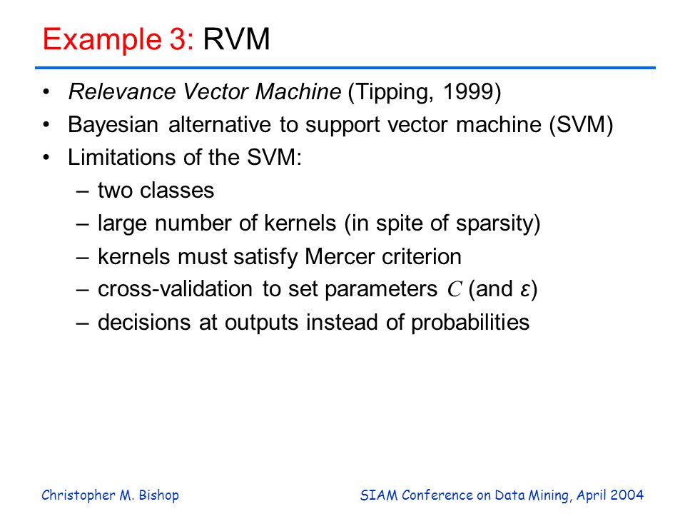 Example 3: RVM Relevance Vector Machine (Tipping, 1999)