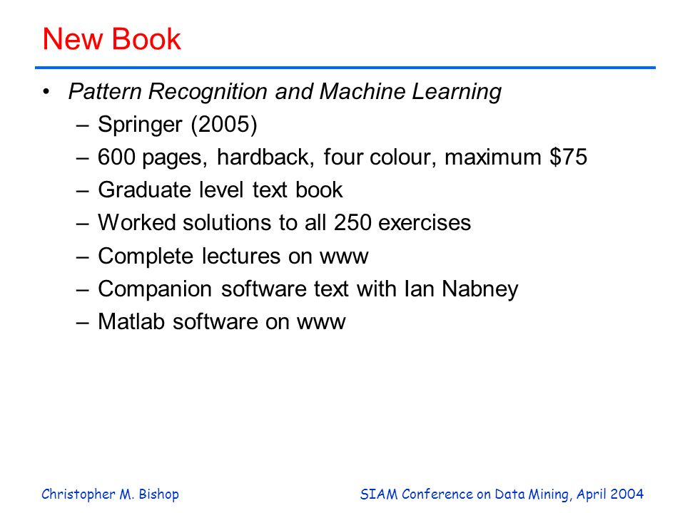 New Book Pattern Recognition and Machine Learning Springer (2005)