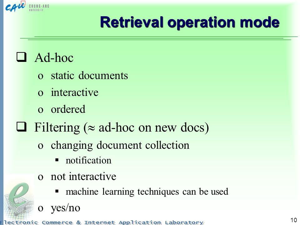 Retrieval operation mode