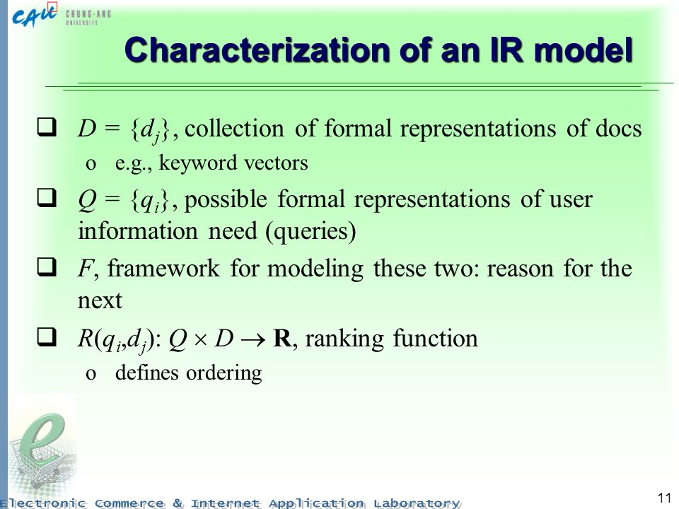 Characterization of an IR model