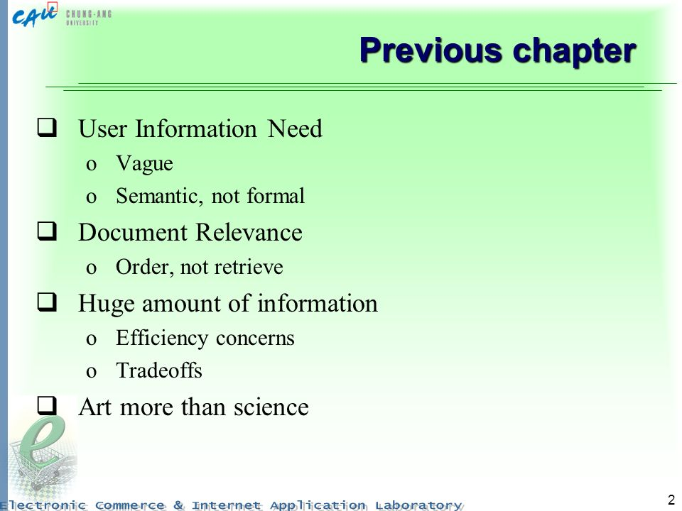 Previous chapter User Information Need Document Relevance