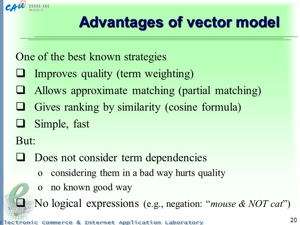 Advantages of vector model