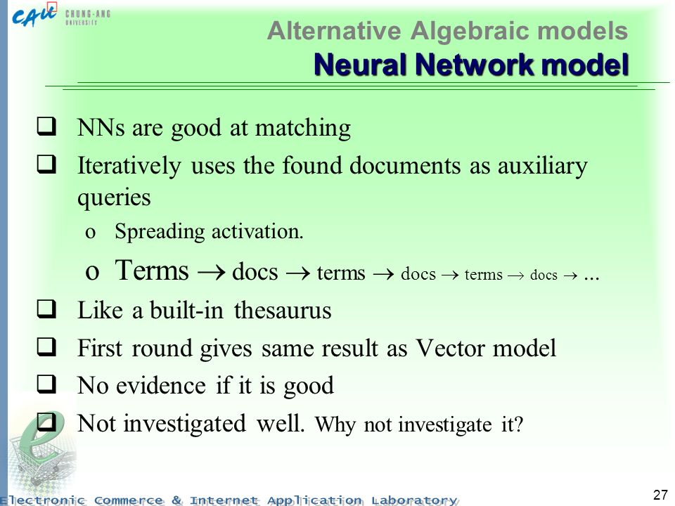 Alternative Algebraic models Neural Network model
