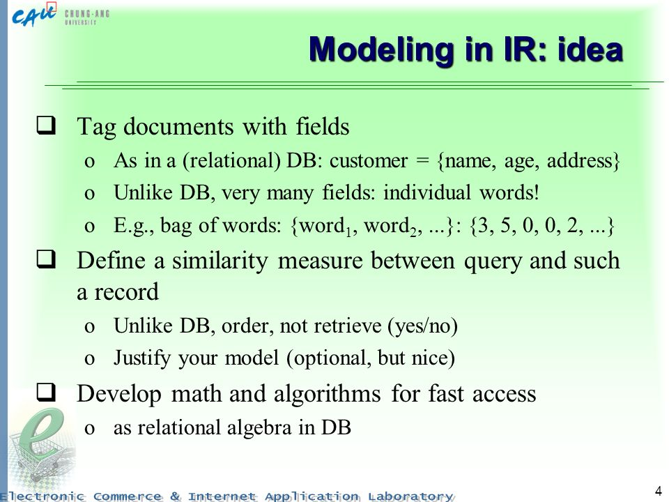 Modeling in IR: idea Tag documents with fields