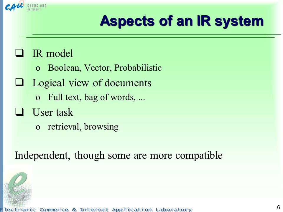 Aspects of an IR system IR model Logical view of documents User task