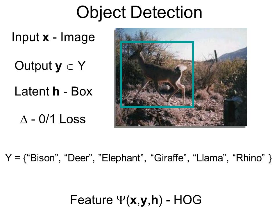 Object Detection Input x - Image Output y  Y Latent h - Box