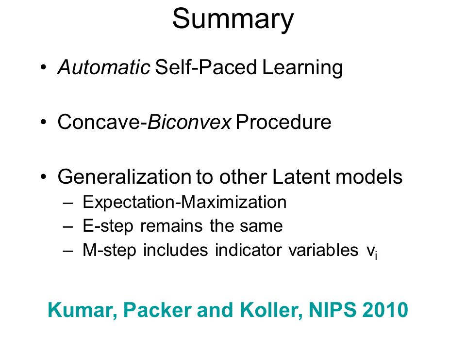 Summary Automatic Self-Paced Learning Concave-Biconvex Procedure