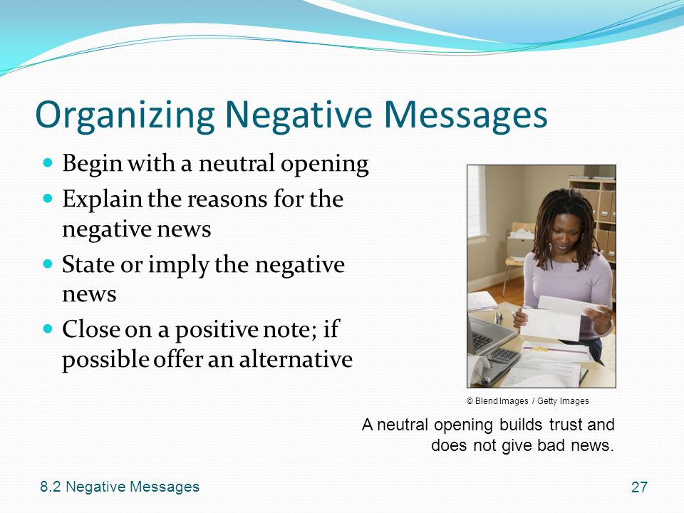 organizing negative messages Study 167 businness communication in the analyzing and organizing stage of the writing of the four types of negative messages discussed in the.