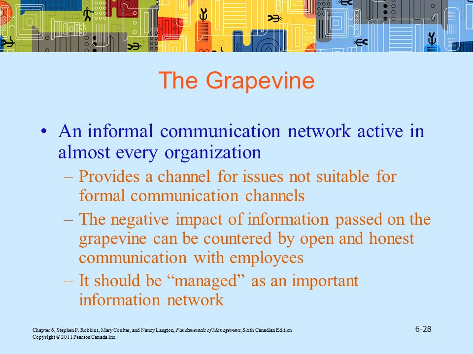 The Grapevine An informal communication network active in almost every organization.