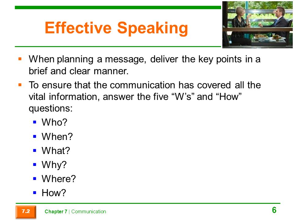Effective Speaking When planning a message, deliver the key points in a brief and clear manner.