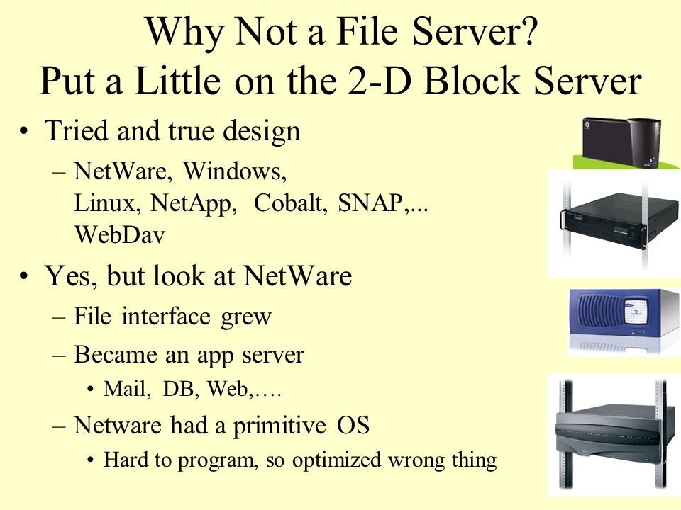 Why Not a File Server Put a Little on the 2-D Block Server